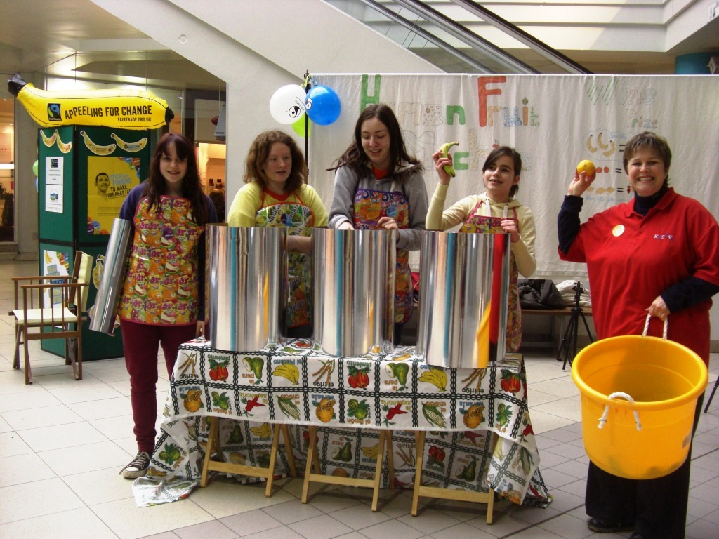 The Fairtrade Friut Machine crew at the Howard Centre